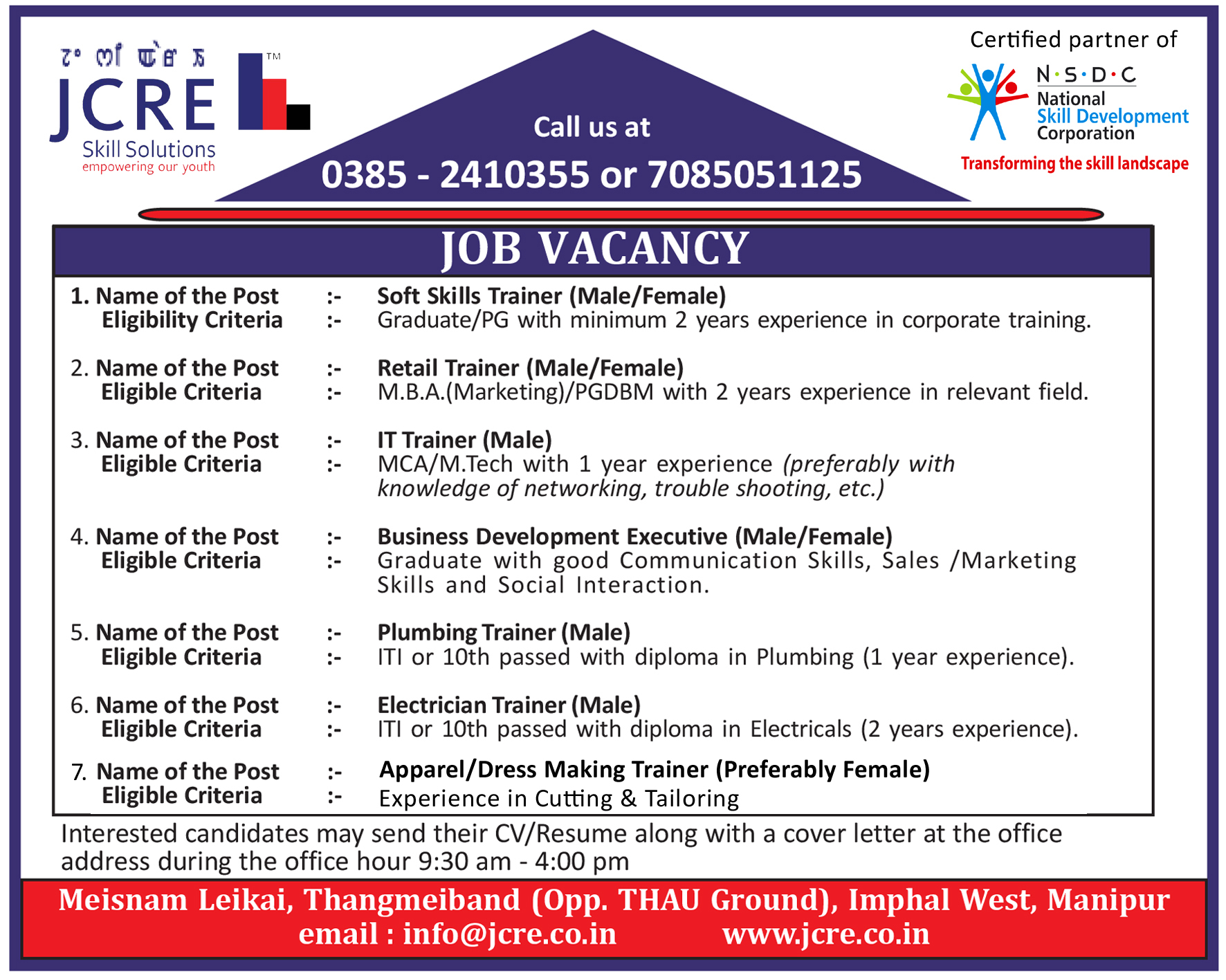 job openings at jcre skill solutions manipur times facebook