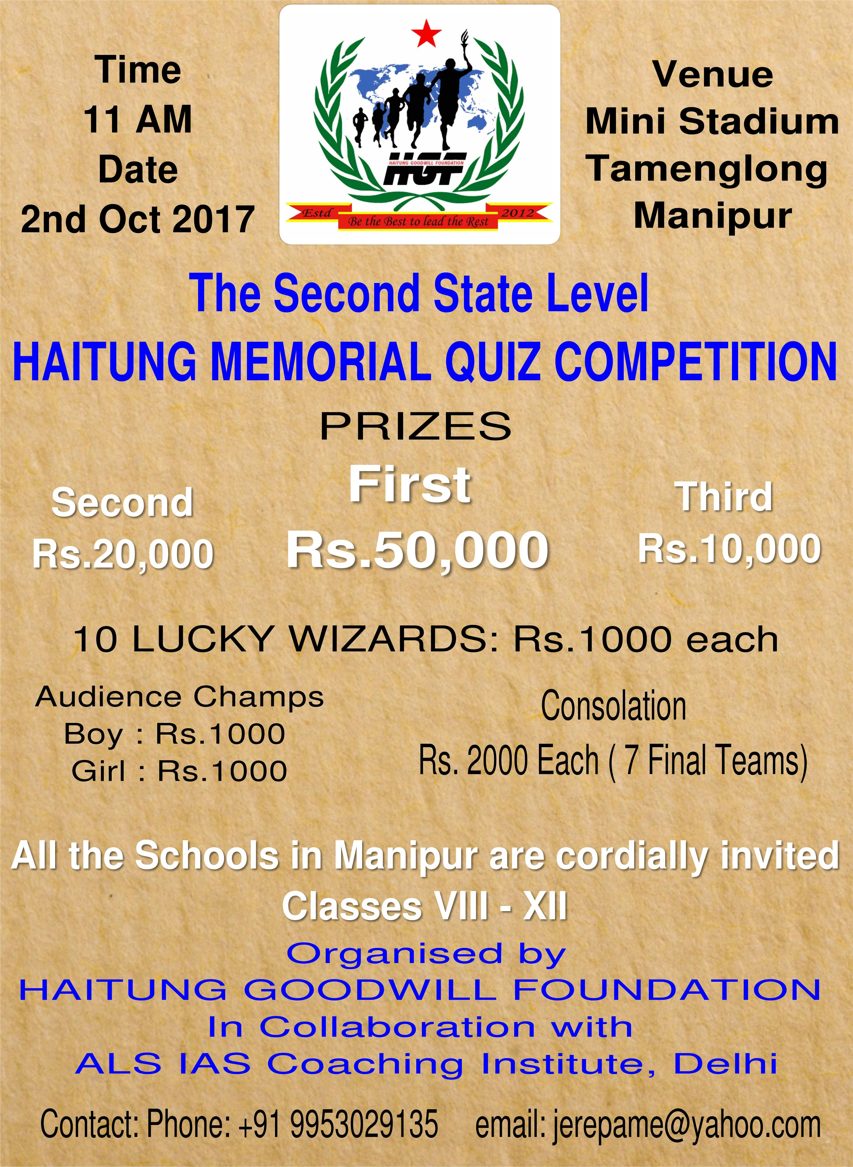 the second state level haitung memorial quiz competition manipur times